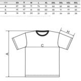 Pánské volnočasové tričko s krátkým rukávem - tabulka velikostí